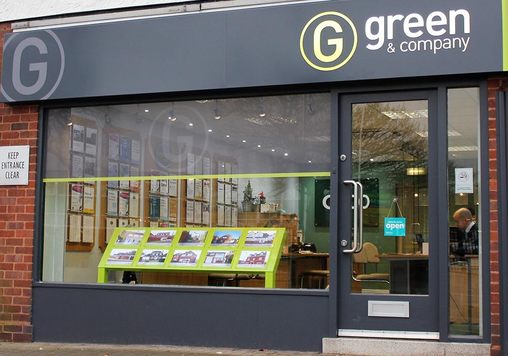 Greens shop front signage
