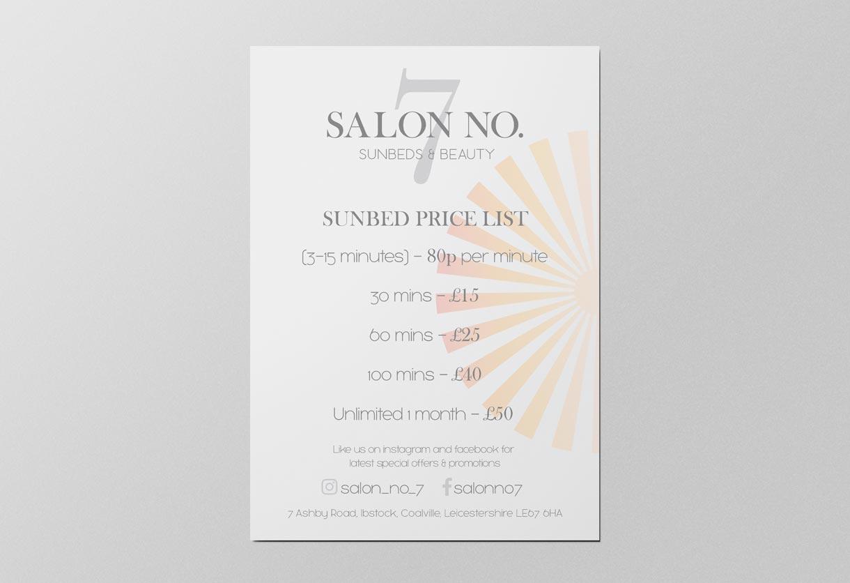 Salon No 7 Price list design