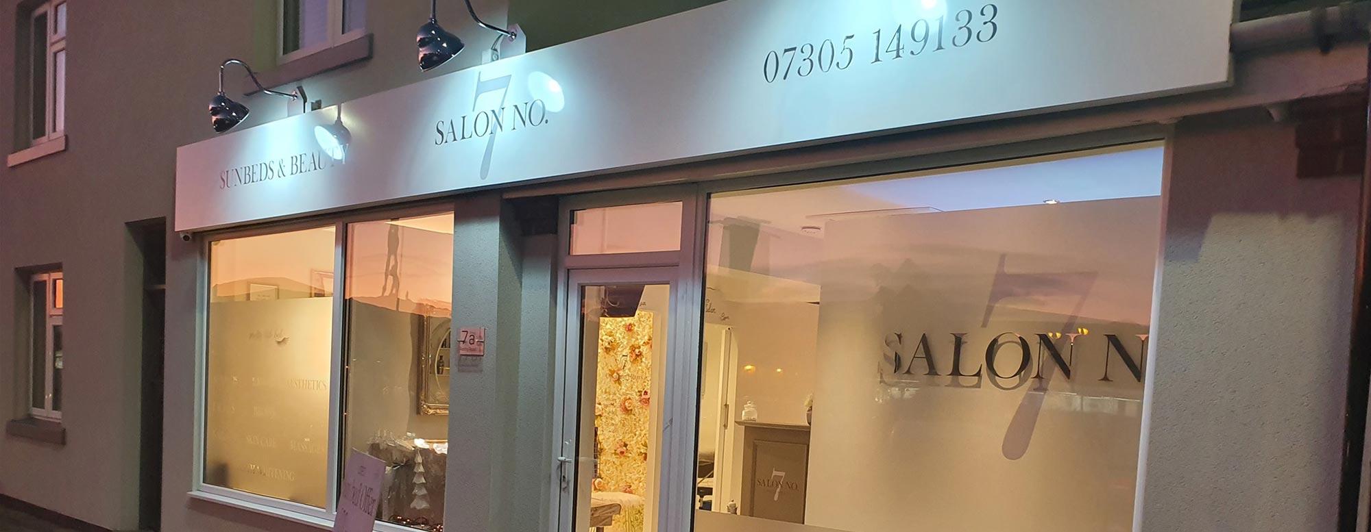 Salon No 7 shop and window graphics