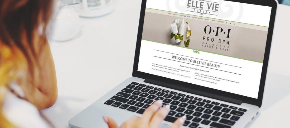 Elle Vie Website on a laptop